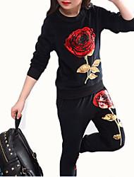 cheap -Girls' Jacquard Vintage Classic Clothing Set, Cotton All Seasons Long Sleeves Casual Street chic White Black Gray