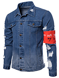 baratos -Homens Jaqueta jeans Activo Moda de Rua - Estampa Colorida