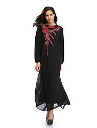 Недорогие -Жен. Богемный Фонарь рукавом С летящей юбкой Платье - Однотонный, С принтом Пэчворк Макси