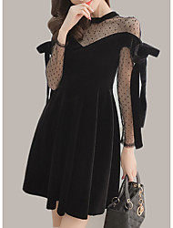 cheap -Women's Simple A Line Dress - Solid Colored, Mesh Patchwork