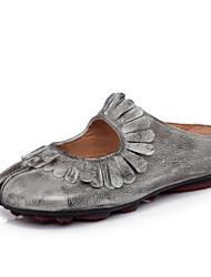 povoljno -Žene Cipele Koža Proljeće Jesen Udobne cipele Ravne cipele Niska potpetica za Kauzalni Svjetlo siva