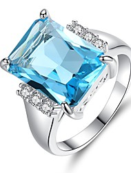 cheap -Women's Synthetic Aquamarine / Cubic Zirconia Band Ring - Vintage, Elegant 6 / 7 / 8 Light Blue For Wedding / Engagement / Ceremony