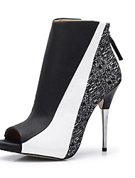 Недорогие -Жен. Обувь Ткань / Полиуретан Лето / Осень Модная обувь / Ботильоны Ботинки На шпильке Открытый мыс Ботинки Черно-белый