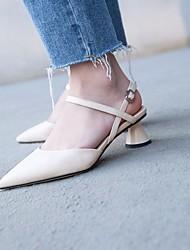 povoljno -Žene Cipele Koža Proljeće Udobne cipele Cipele na petu Deblja visoka potpetica za Kauzalni Crn Bež