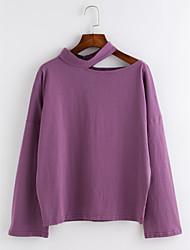 baratos -Mulheres Camiseta Activo Básico Renda,Sólido
