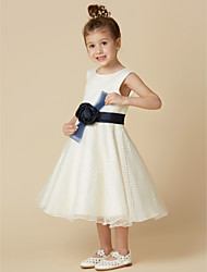 cheap -A-Line Knee Length Flower Girl Dress - Tulle Sleeveless Jewel Neck with Sash / Ribbon / Flower by LAN TING BRIDE®