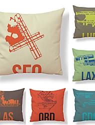 baratos -6 pçs Téxtil Algodão/Linho Cobertura de Almofada, Art Deco Design Especial Inovador Criativo Alta qualidade