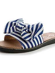 cheap -Women's Shoes Synthetic Microfiber PU Summer Comfort Slippers & Flip-Flops Flat Heel Open Toe Bowknot for Black Red Blue