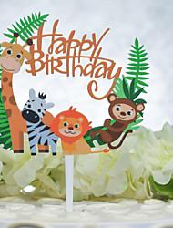 billiga -Tårttoppar Födelsedag Djurmönstrad Acryic / Polyester Födelsedag med Akryl 1pcs OPP