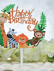 cheap -Cake Topper Birthday Animal Acryic / Polyester Birthday with Acrylic 1pcs OPP