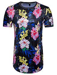 baratos -Homens Camiseta Exagerado Moda de Rua Estampado, Floral Estampa Colorida