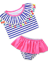 cheap -Kids Toddler Girls' Striped Print Sleeveless Swimwear