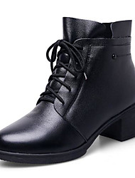 cheap -Women's Shoes Wool Fall Winter Bootie Boots Chunky Heel Round Toe Booties / Ankle Boots for Casual Black