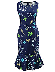 cheap -Women's Holiday Slim Sheath Dress - Floral High Waist