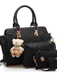 preiswerte -Damen Taschen PU Bag Set 4 Stück Geldbörse Set Schleife(n) für Normal Gold / Schwarz / Fuchsia