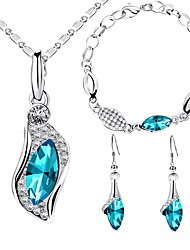 cheap -Women's Rhinestone Drop Jewelry Set 1 Necklace / 1 Bracelet / Earrings - Fashion / Sweet Blue Jewelry Set For Wedding / Party
