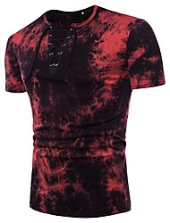 baratos -Homens Camiseta Básico Moda de Rua Sólido Decote Redondo