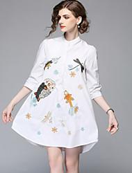baratos -Mulheres Fofo Básico Evasê Camisa Vestido - Bordado, Animal Acima do Joelho