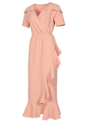 cheap -Women's Sophisticated Street chic Bodycon Sheath Trumpet/Mermaid Dress - Solid Colored, Ruffle