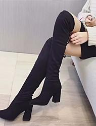 povoljno -Žene Cipele Sintetika, mikrofibra, PU Zima Modne čizme Udobne cipele Čizme Kockasta potpetica Čizme preko koljena za Kauzalni Crn