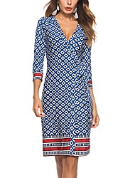cheap -Women's Beach Holiday Slim Sheath Dress - Geometric Print High Waist Deep V
