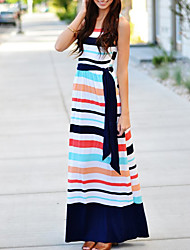 cheap -Women's Street chic Sheath Dress - Striped