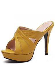 cheap -Women's Shoes Leatherette Summer Slingback Slippers & Flip-Flops Stiletto Heel Open Toe Black / Beige / Yellow