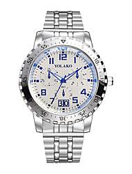 baratos -Homens Relógio Casual Chinês Mostrador Grande Aço Inoxidável Banda Fashion Prata