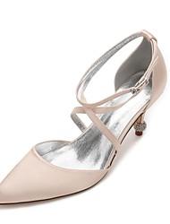 baratos -Mulheres Sapatos Cetim Primavera / Verão Conforto / D'Orsay / Plataforma Básica Sapatos De Casamento Salto Cone Dedo Apontado Pedrarias /