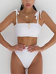 abordables -Femme A Bretelles Bandeau Bikinis - Lacet, Couleur Pleine Slip Brésilien