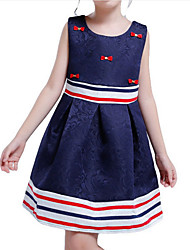 cheap -Girl's Daily Holiday Color Block Dress, Polyester Summer Sleeveless Active Royal Blue