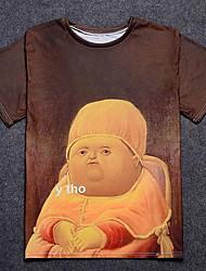 baratos -Homens Camiseta Básico Estampado, Retrato Algodão Decote Redondo / Manga Curta