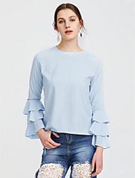Χαμηλού Κόστους sylwia-Γυναικεία T-shirt Μονόχρωμο, Μανίκι Πέταλο Φαρδιά Πολυεστέρας