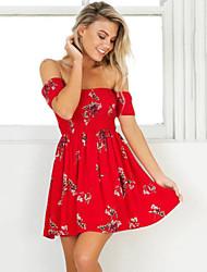 povoljno -Žene Ulični šik Swing kroj Haljina Cvjetni print Iznad koljena