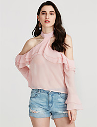 cheap -Women's Cute Blouse - Solid Colored Check Stand
