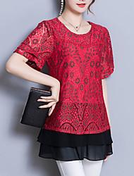 preiswerte -Damen Einfarbig-Street Schick T-shirt Spitze Jacquard