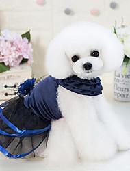 baratos -Cachorros Gatos Vestidos Roupas para Cães Flor Rendas Azul Escuro Roxo Algodão / Poliéster Ocasiões Especiais Para animais de estimação