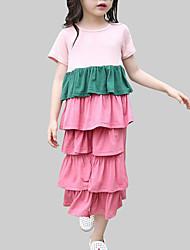 cheap -Girls' Daily Patchwork Clothing Set, Cotton Summer Short Sleeves Cute Black Blushing Pink