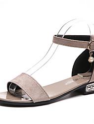 abordables -Femme Chaussures Polyuréthane Eté Confort Sandales Talon Bas Bout rond Strass pour Noir Rose Amande