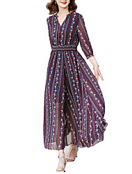 cheap -Women's Going out / Holiday Street chic Slim Chiffon / Swing Dress - Floral Print High Waist Maxi V Neck