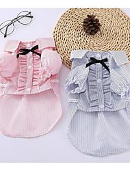 abordables -Chiens Chats Tee-shirt Vêtements pour Chien Rayé Nœud papillon Bleu Rose Coton / Polyester Costume Pour les animaux domestiques Femme