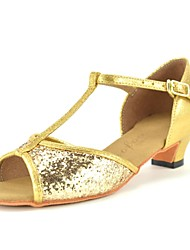 cheap -Girls' Latin Shoes Sparkling Glitter / Paillette Heel Professional / Beginner Paillette Chunky Heel Customizable Dance Shoes Gold /