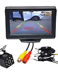 abordables -BYNCG WG4.3T-8LED 4.3 pouces TFT-LCD 480 TVL 480p 1/4 pouce CMOS PC7030 120 Degrés 1pcs 120° 0.3inch Kit de vue arrière de voiture