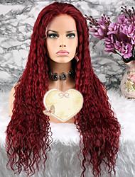 baratos -Cabelo Remy Peruca Cabelo Brasileiro Encaracolado Corte em Camadas 130% Densidade Com Baby Hair Vermelho Curto Longo Comprimento médio