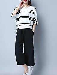 abordables -Femme Grandes Tailles Manche Gigot Coton / Acrylique Set - Couleur Pleine, Plissé Pantalon