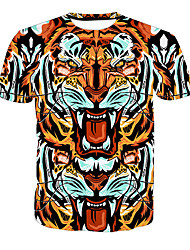 cheap -Men's Basic Plus Size T-shirt - Animal Round Neck / Short Sleeve / Long