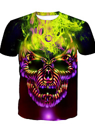 cheap -Men's Plus Size Cotton T-shirt - Skull Round Neck / Short Sleeve / Long