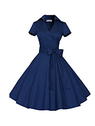 cheap -Women's Vintage Street chic Loose A Line Dress - Solid Colored Polka Dot Blue High Waist V Neck