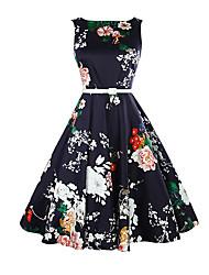 abordables -Mujer Vintage Delgado Corte Swing Vestido Floral Midi / Verano / Patrones florales