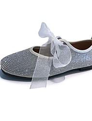 Недорогие -Жен. Обувь Полиуретан Лето Удобная обувь На плокой подошве На плоской подошве Круглый носок Стразы Белый / Черный